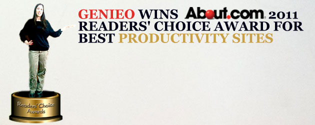 Genieo Wins About.Com's 2011 Readers' Choice Award For Best Productivity Sites