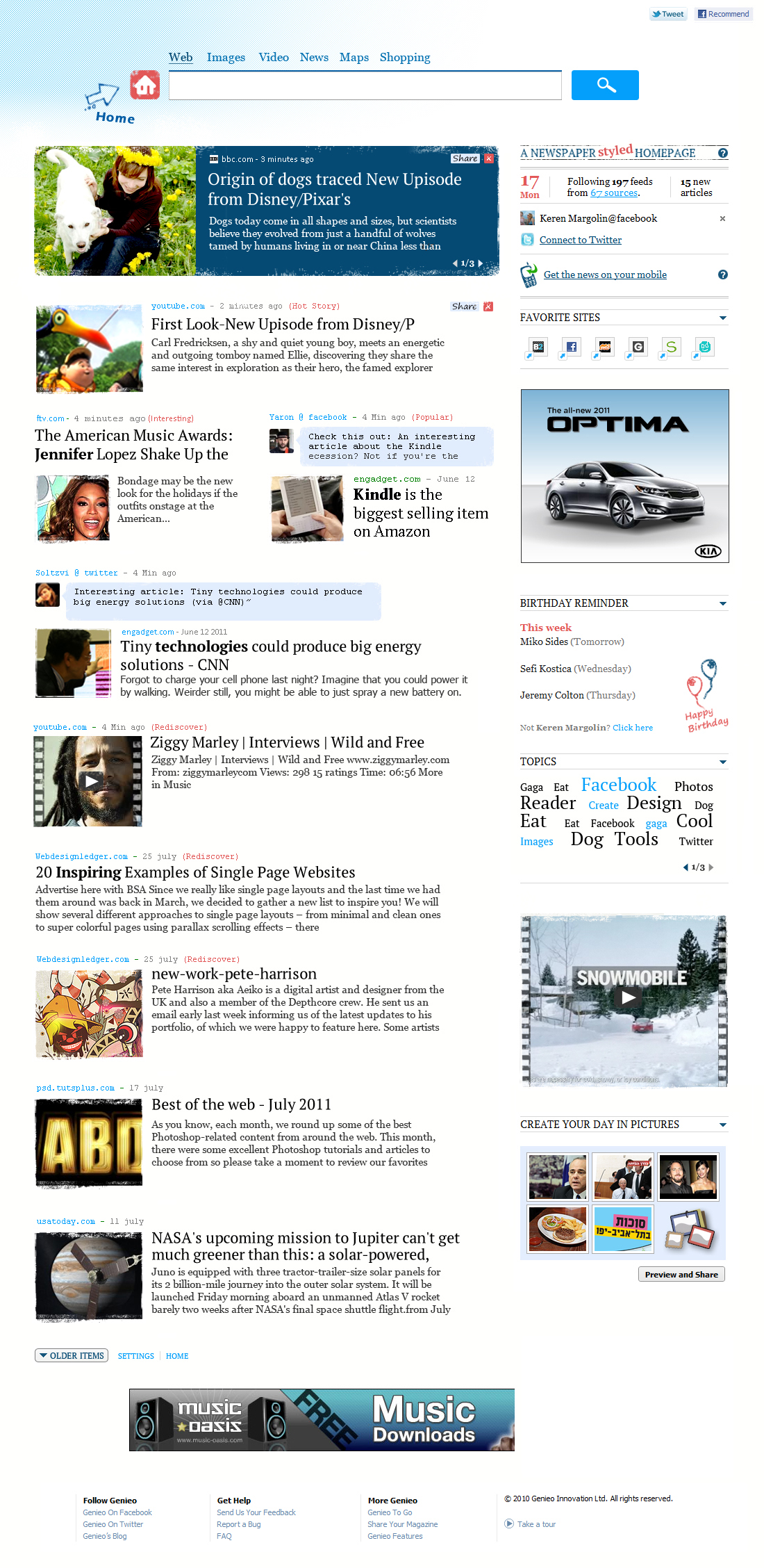 Genieo for Mac screenshot: Genieo, startpage, start page, rss feed, breaking news, Macintosh, Mac, newspaper, news feed, homepage,igoogle